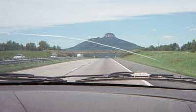 The approach to Pilot Mountain.  You can probably see why we call it ''Mount Titty'' / ''Boob Mountain''.